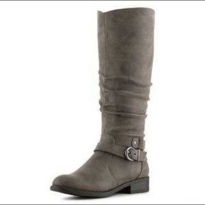 White Mountain Grey Riding Boots with Buckle